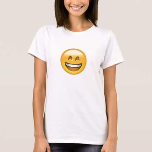 Emoji Smiling Face Open Mouth And Smiling Eyes T-Shirt for Women