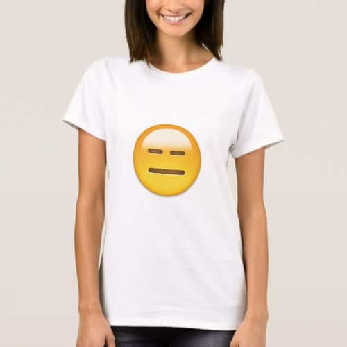 Expressionless Face Emoji T-Shirt for Women