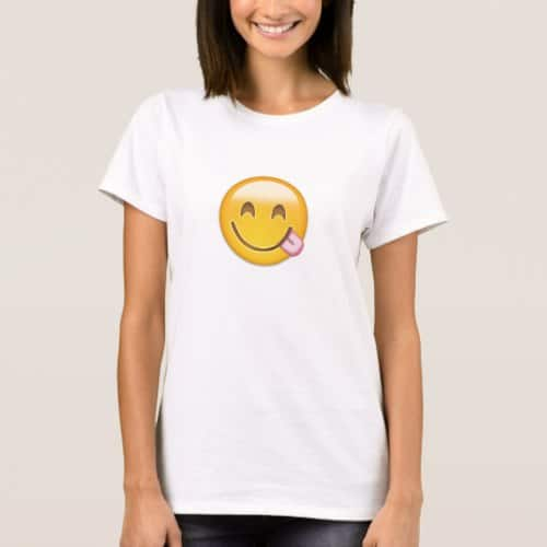 Face Savouring Delicious Food Emoji T-Shirt for Women