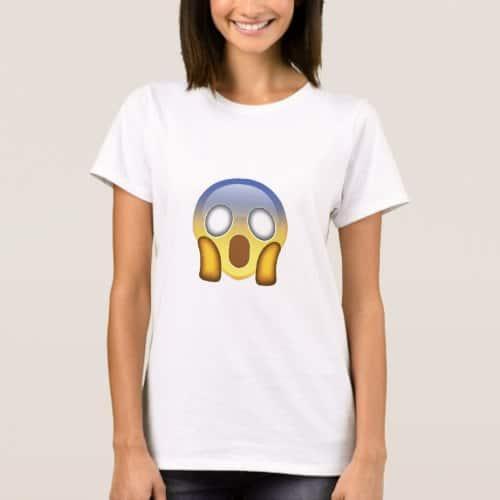 Face Screaming In Fear Emoji T-Shirt for Women