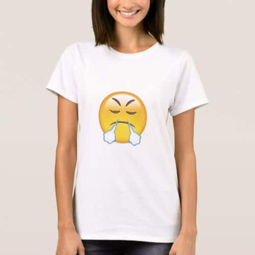 Face With Look Of Triumph Emoji T-Shirt for Women