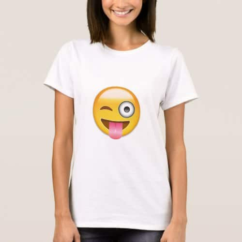 Face With Stuck Out Tongue And Winking Eye Emoji T-Shirt for Women