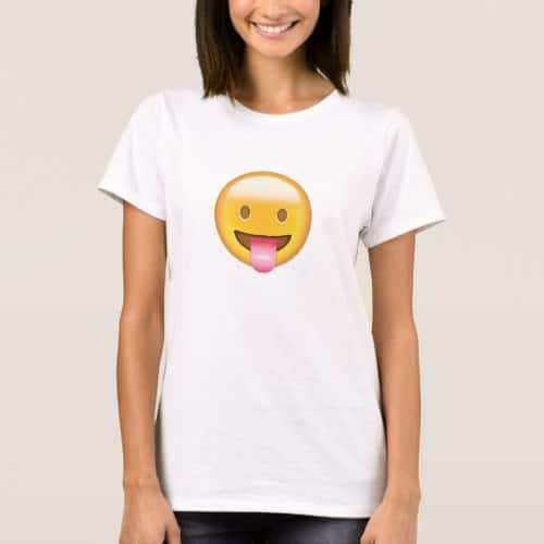 Face With Stuck Out Tongue Emoji T-Shirt for Women
