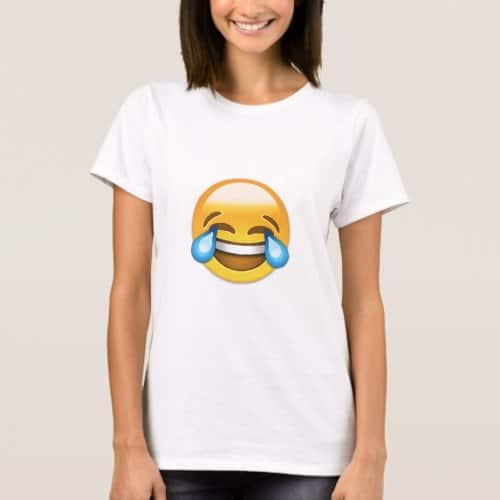 Face With Tears Of Joy Emoji T-Shirt for Women