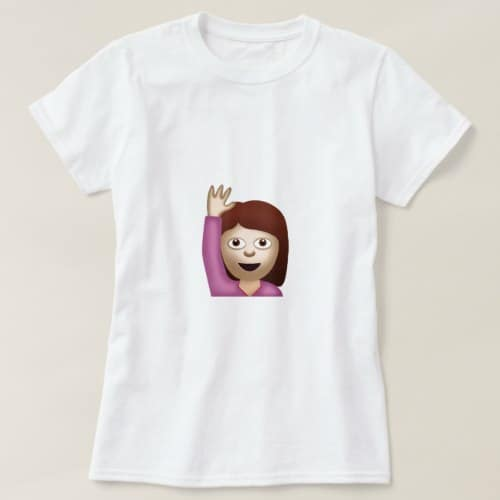 Happy Person Raising One Hand Emoji T-Shirt for Women