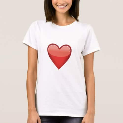 Heavy Black Heart Emoji T-Shirt for Women