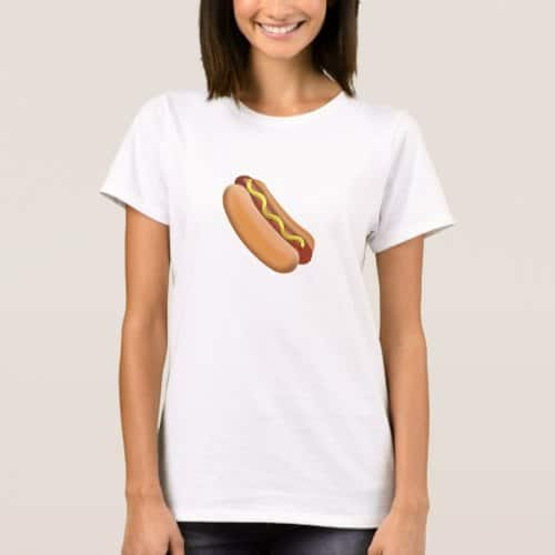 Hot Dog Emoji T-Shirt for Women