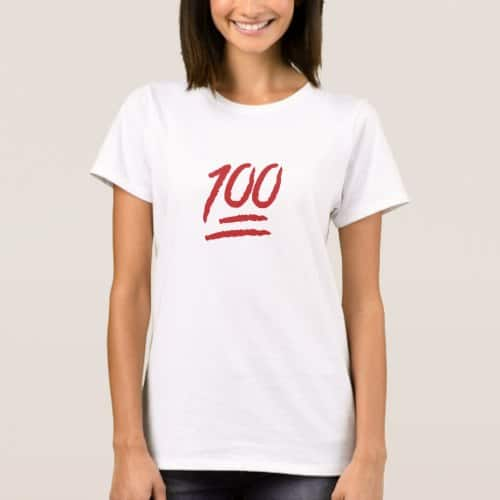 Hundred Points Symbol Emoji T-Shirt for Women