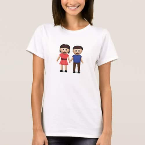 Man And Woman Holding Hands Emoji T-Shirt for Women