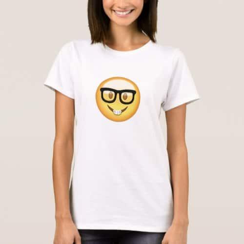 Nerd Face Emoji T-Shirt for Women