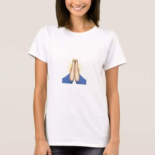Person With Folded Hands Emoji T-Shirt for Women