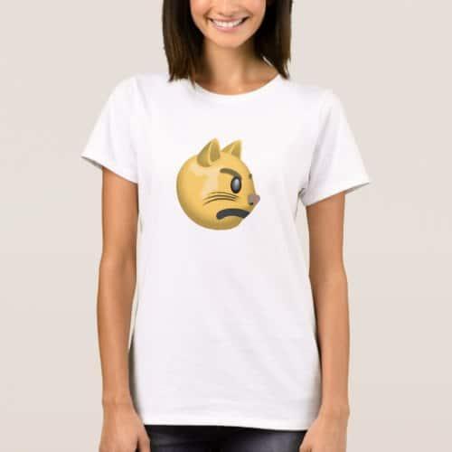 Pouting Cat Face Emoji T-Shirt for Women