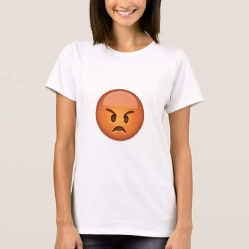 Pouting Face Emoji T-Shirt for Women
