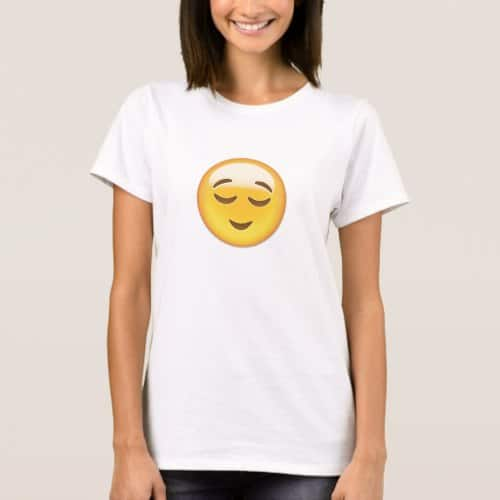 Relieved Face Emoji T-Shirt for Women