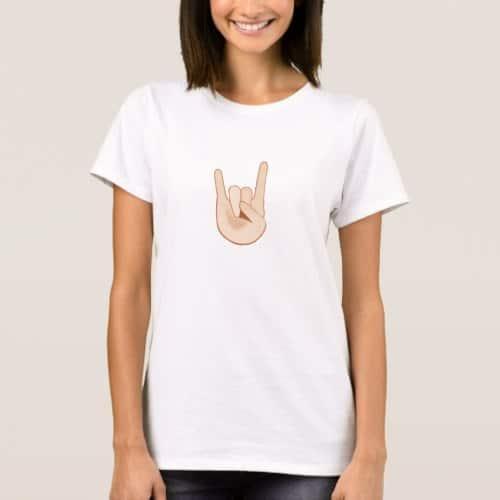 Sign of the Horns Emoji T-Shirt for Women