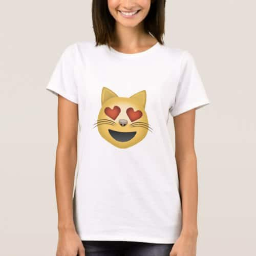 Smiling Cat Face With Heart Shaped Eyes Emoji T-Shirt for Women