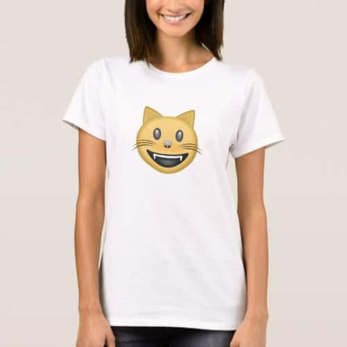 Smiling Cat Face With Open Mouth Emoji T-Shirt for Women