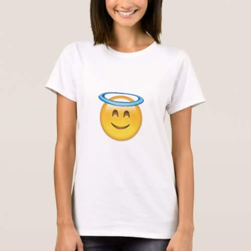 Smiling Face With Halo Emoji T-Shirt for Women