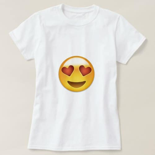 Smiling Face With Heart Shaped Eyes Emoji T-Shirt for Women