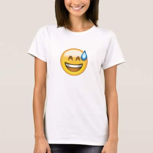 Smiling Face With Open Mouth And Cold Sweat Emoji T-Shirt for Women