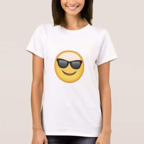 Smiling Face With Sunglasses Emoji T-Shirt for Women