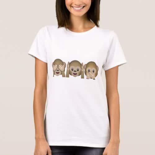 Three Wise Monkeys Emoji T-Shirt for Women