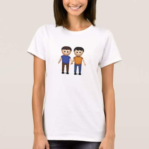 Two Men Holding Hands Emoji T-Shirt for Women