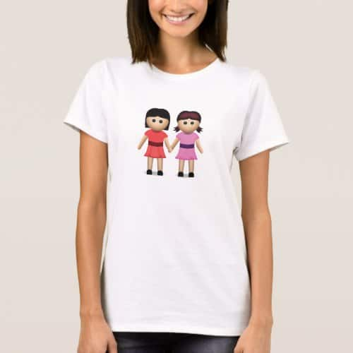 Two Women Holding Hands Emoji T-Shirt for Women