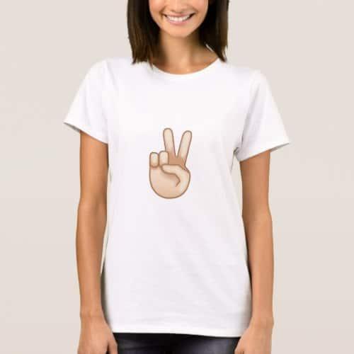 Victory Hand Emoji T-Shirt for Women