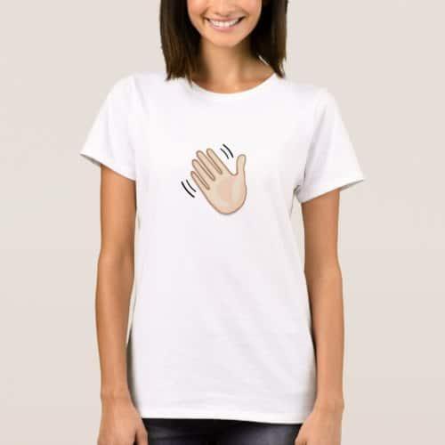 Waving Hand Sign Emoji T-Shirt for Women