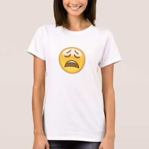 Weary Face Emoji T-Shirt for Women