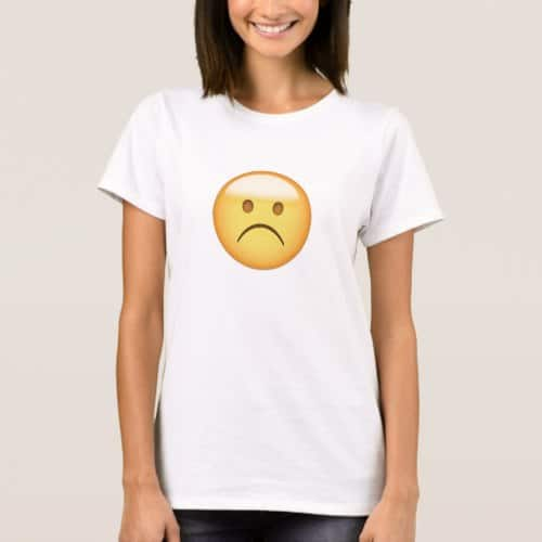White Frowning Face Emoji T-Shirt for Women