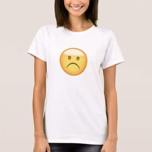 White Frowning Face Emoji T-Shirt for Women