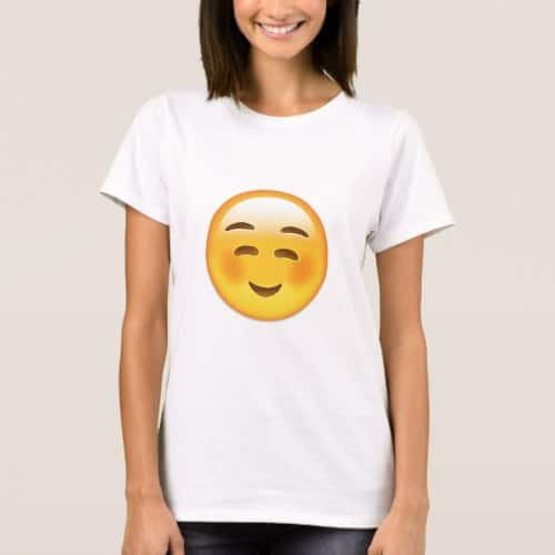 White Smiling Face Emoji T-Shirt for Women