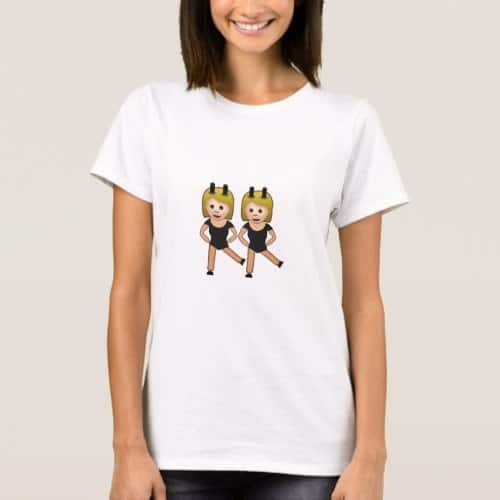 Woman With Bunny Ears Emoji T-Shirt for Women