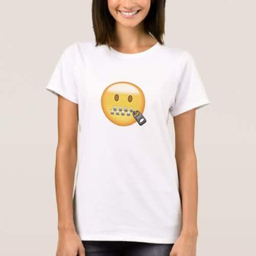 Zipper-Mouth Face Emoji T-Shirt for Women