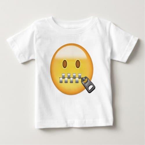 Zipper-Mouth Face Emoji Baby T-Shirt