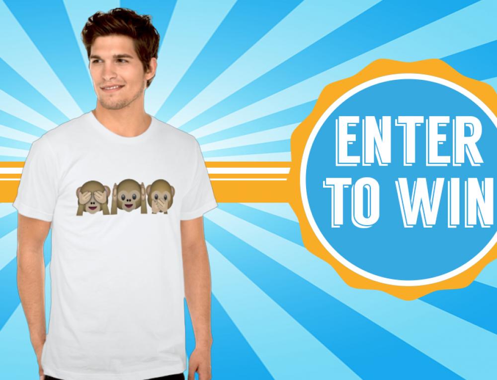 Win an three wise monkeys Emoji Shirt